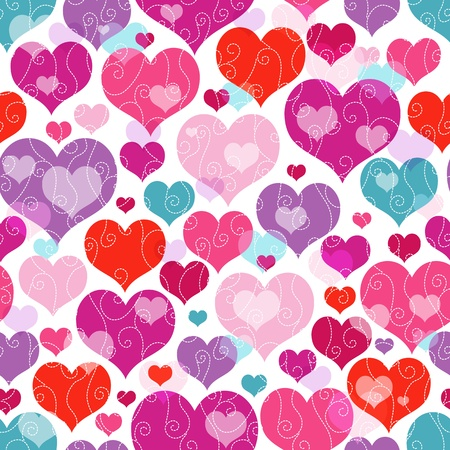 Seamless vivid valentine pattern with decorative colorful hearts and curls