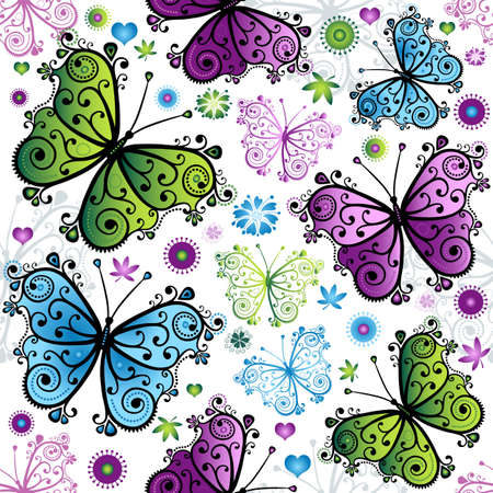Seamless spring bright pattern with colorful butterflies (vector) Vector