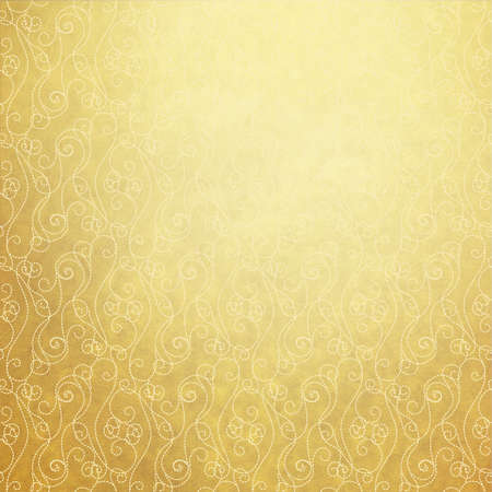 gold brown: Old yellow paper with vintage white pattern Stock Photo