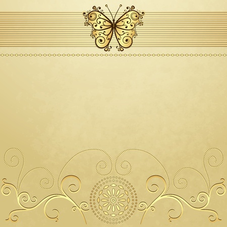 butterfly stationary: Old grunge paper with gold butterfly and gold pattern