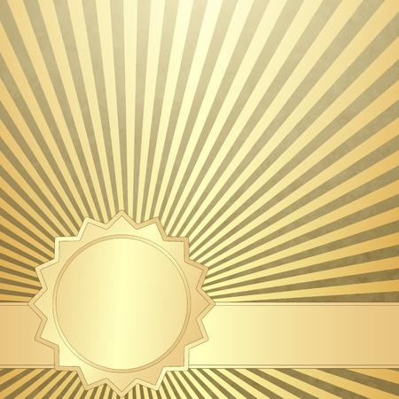 Old grunge paper with gold rays and gold line
