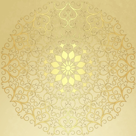 Old  vintage paper with gold round pattern  Vector