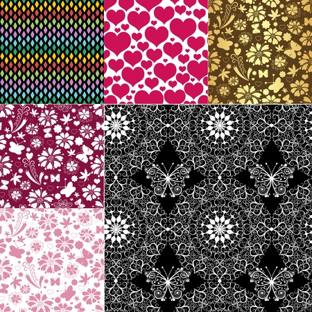 Collection seamless pastel patterns with flowers, butterflies and hearts  Vector