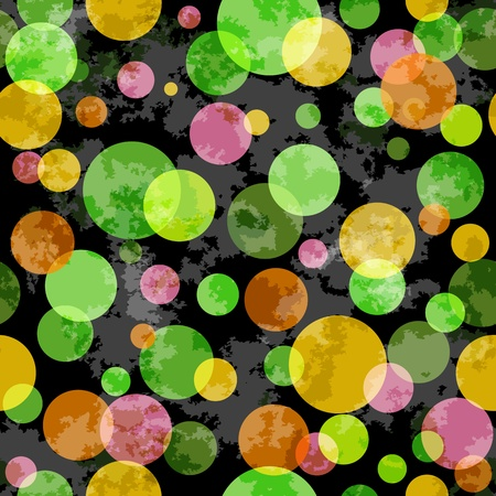 spotty: Seamless dark grunge spotty pattern with colorful translucent balls (vector EPS 10)
