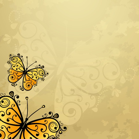 Old grunge spotty paper with yellow butterflies (vector EPS 10) Vector