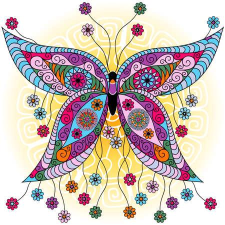 曼陀羅: ファンタジー春ビンテージ カラフルな蝶の日当たりの良い背景 (ベクトル) の花を持つ
