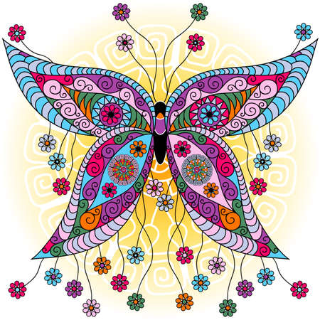 mandala background: Fantasy spring vintage colorful butterfly with flowers on sunny background (vector) Illustration