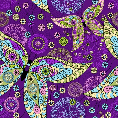 Seamless spring violet floral pattern with colorful vintage butterflies and decorative circles (vector) Vector