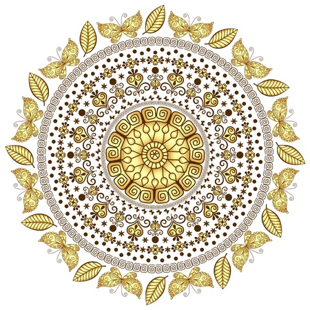 Lacy gold-brown round vintage pattern  Vector