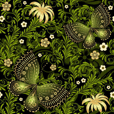 vivid: Spring dark and green seamless pattern with gold flowers and butterflies and translucent dots