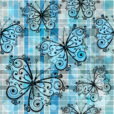 Gray-blue checkered pattern with blue butterflies and translucent balls in style grunge