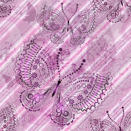Pink diagonal grunge striped translucent seamless pattern with butterflies Vector