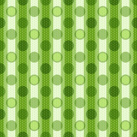 Seamless striped pattern with large and small translucent green polka dots