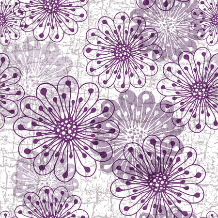 White-gray-violet grunge pattern with violet translucent flowers Vector