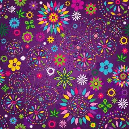 Seamless motley vivid violet floral pattern with colorful flowers, butterflies and decorative circles (vector)