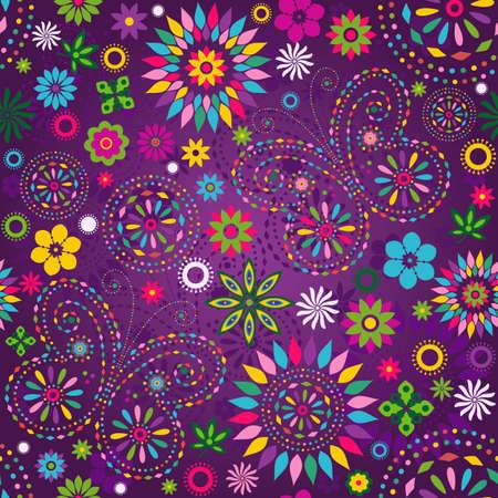 motley: Seamless Motley vivido viola motivo floreale con fiori colorati, farfalle e cerchi decorativi (vettoriale)