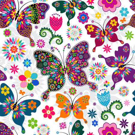 butterfly hand: Seamless spring white floral pattern with colorful butterflies and flowers  Illustration