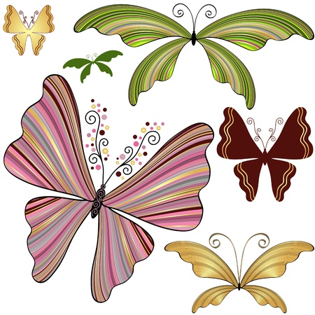 Set fantasy striped colorful butterflies isolated on white  Vector