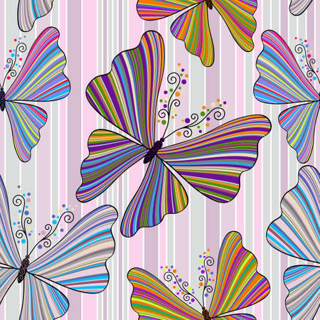 Striped seamless pattern with striped colorful butterflies  Vector