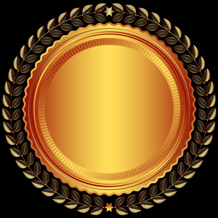Bronze round frame with leaves and stars on black  Vector