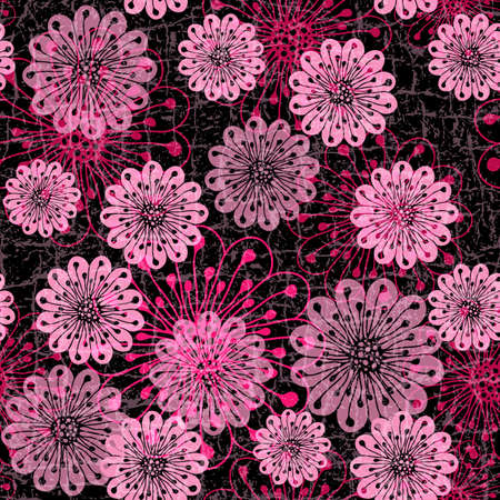 Black grunge seamless pattern with red and pink translucent flowers Vector