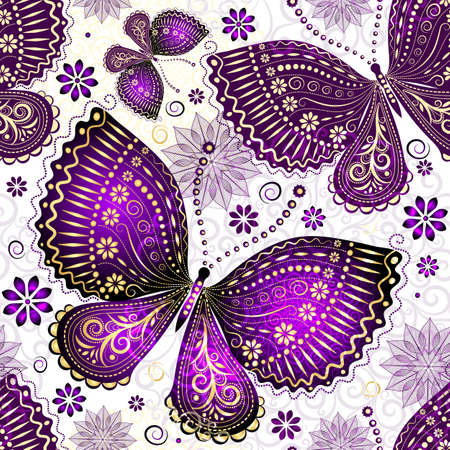 Seamless spring transparent pattern with violet-gold butterflies and flowers (vector EPS 10)