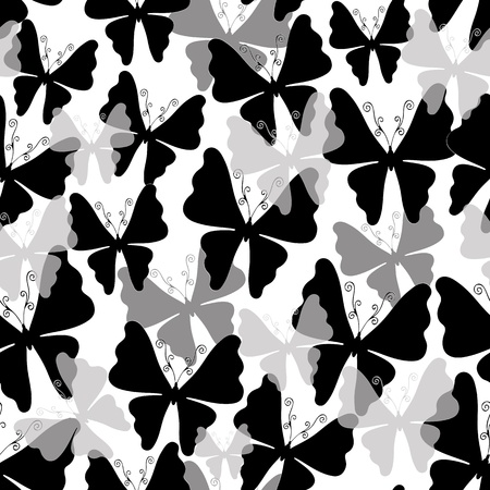 Seamless white pattern with black, gray and transparent silhouettes butterflies (vector EPS 10) Stock Vector - 21749490