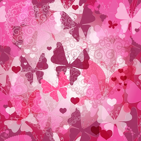 Seamless valentine pattern with transparent pink and purple butterflies and lacy hearts   Vector