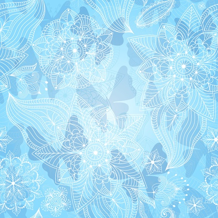 Christmas seamless pattern with lacy snowflakes and translucent butterflies Stock Vector - 21960979