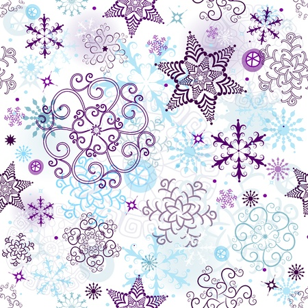 Christmas seamless pattern with transparent snowflakes and stars   Vector