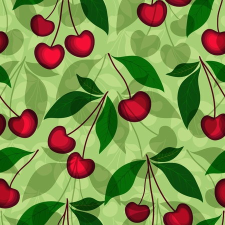 dark cherry: Green seamless floral pattern with cherries and transparent leaves