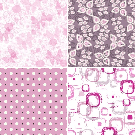 Set seamless pink grunge patterns with polka dots, spots and butterflies  Vector