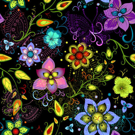 Black seamless floral pattern with vivid flowers and colorful transparent butterflies Vector