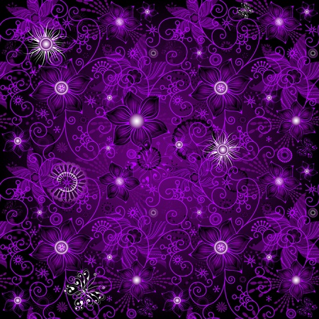lilas: Seamless dark violet vintage pattern with flowers and butterflies (vector)