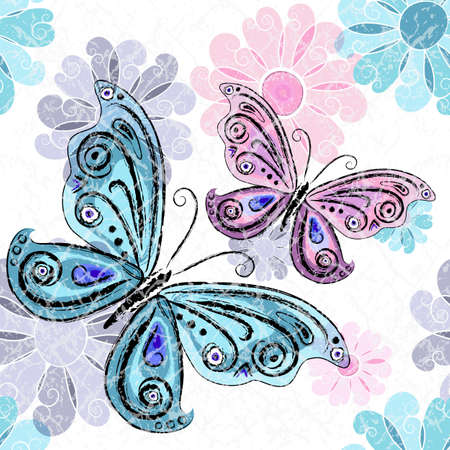 Spring grunge seamless spotty white pattern with pink and blue and gray flowers and butterflies  Vector