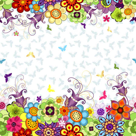Seamless white floral spring pattern with vivid flowers and butterflies (vector)