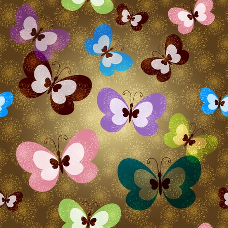 Brown seamless spring pattern with transparent colorful butterflies and lacy gold flowers  Vector