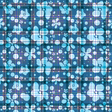 twill: Repeating blue checkered floral translucent pattern