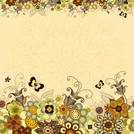 Vintage floral frame with colorful flowers and butterflies  Vector