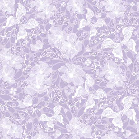 Gentle seamless violet vintage pattern with white translucent flowers and butterflies (vector EPS 10) Vector