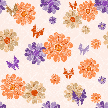lilas: Pink grunge seamless vintage spotty pattern with orange and violet translucent flowers and butterflies  Illustration
