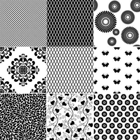 spotty: Big collection seamless vintage monochrome patterns