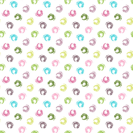 Seamless white grunge pattern with colorful pastel polka dots  Vector