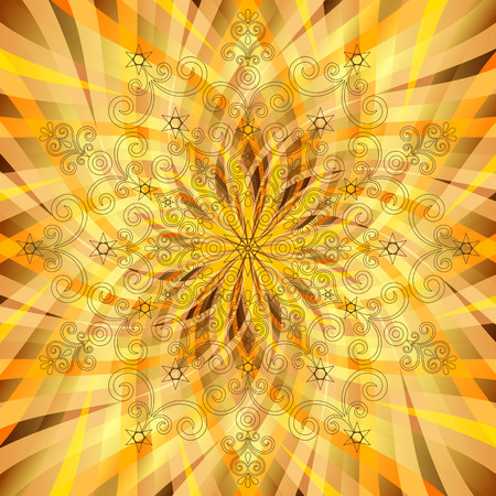 Vintage orange-gold pattern with translucent rays and mandala  Stock Vector - 22509020