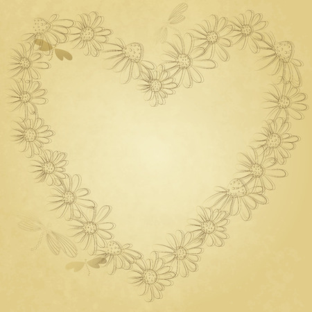 butterfly stationary: Old grunge paper with floral heart with dragonflies  Illustration