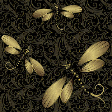 Seamless dark vintage pattern with translucent gold dragonflies  Vector