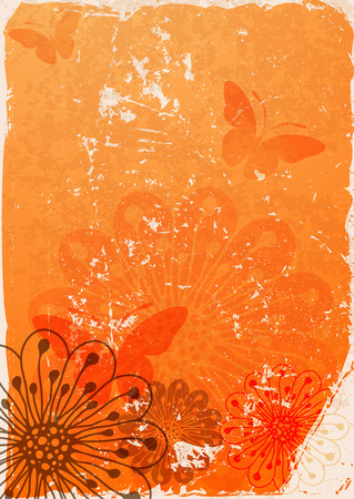 butterfly stationary: Grunge orange paper with translucent flowers and butterflies  Illustration