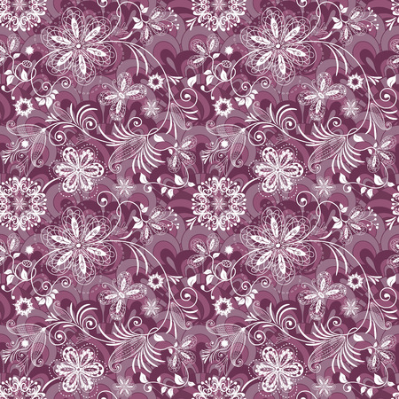 Seamless purple-white vintage pattern with flowers and butterflies  Vector