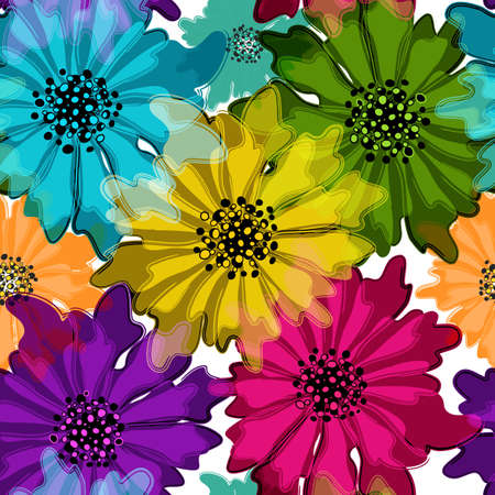 Seamless floral spring pattern with vivid translucent colorful flowers on white Vector