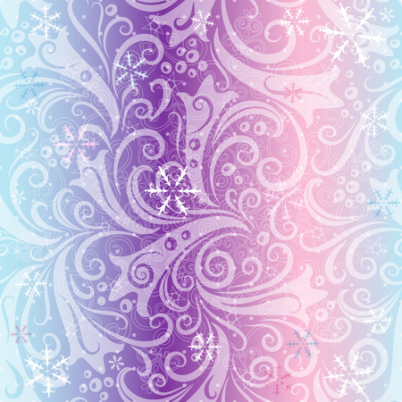 Seamless striped Christmas pattern with translucent vintage curls and snowflakes  Vector